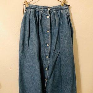 Vintage Manor House Long Denim Skirt (With Pockets